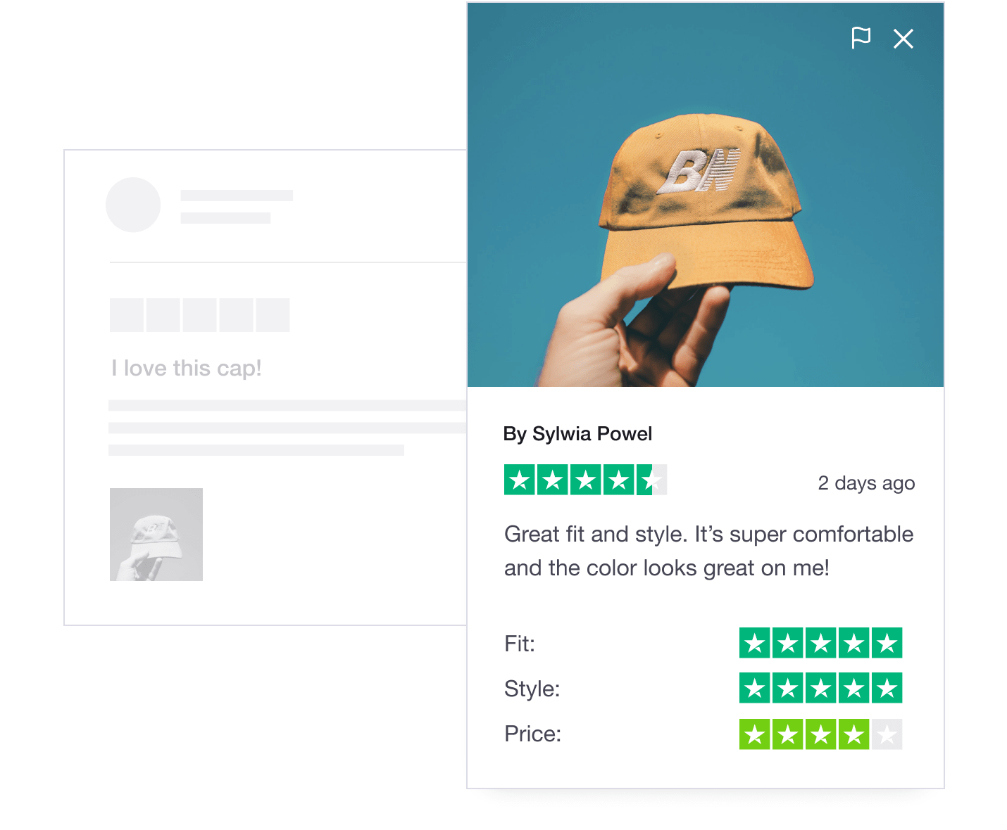 Trustpilot product review featuring a customer photo