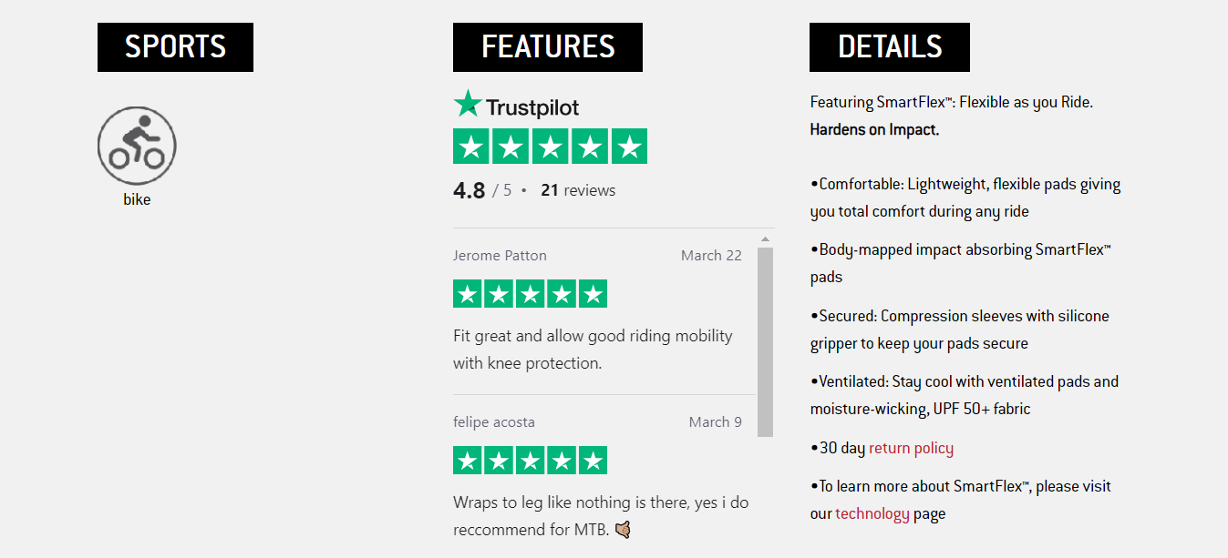 Product reviews on product pages