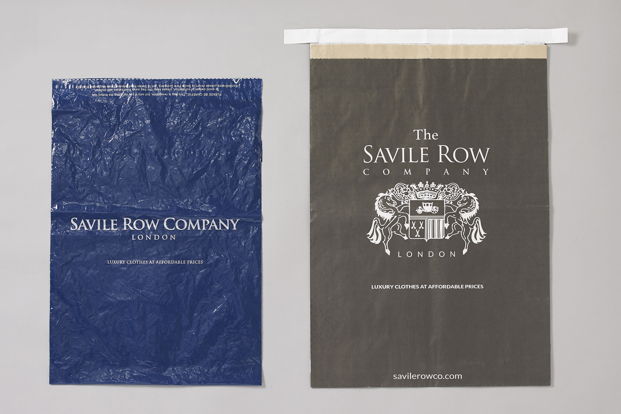 The Savile Row Company has replaced plastic packaging (left) with a recyclable paper bag (right).