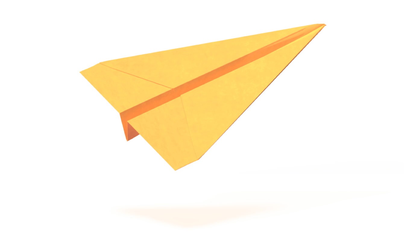 Yellow origami paper plane - mobile