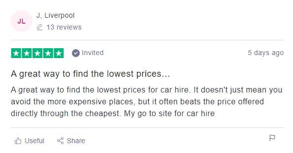 Rental car customer review