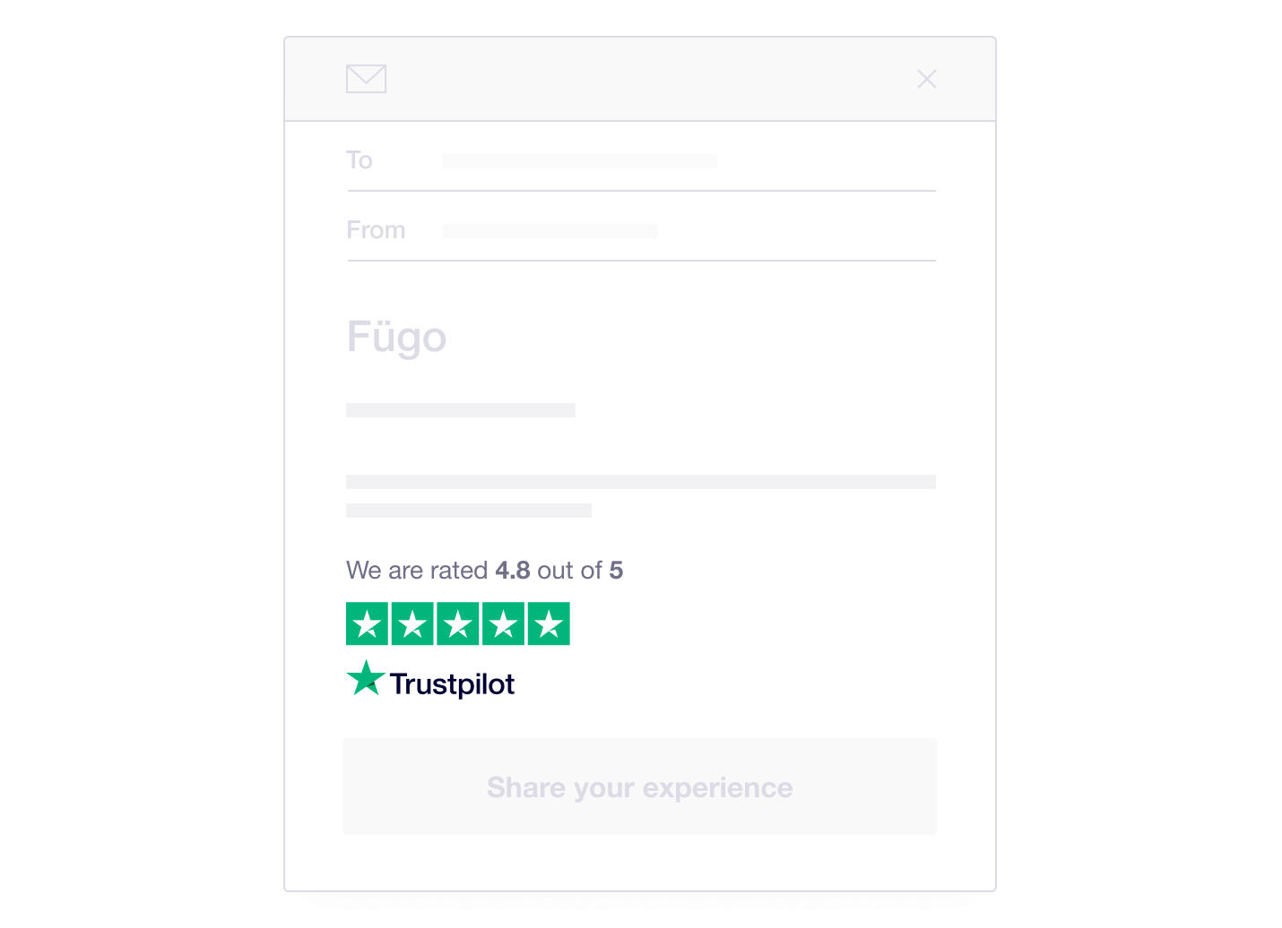 Illustration showing how Trustpilot TrustBox widgets can be used in email marketing