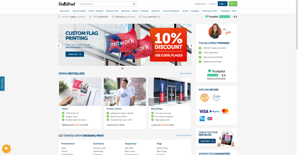 image showing helloprint's website including trustpilot's reviews
