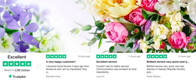 Flowers.ie Trustpilot reviews homepage