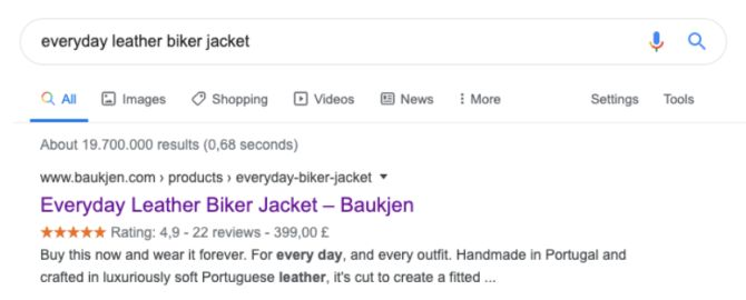 rich snippets and product reviews example