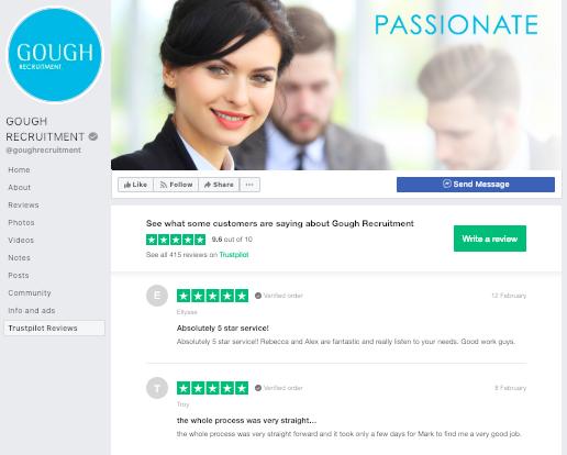 Gough recruitment Facebook Trustpilot integration