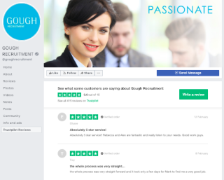 Gough recruitment Facebook Trustpilot integration