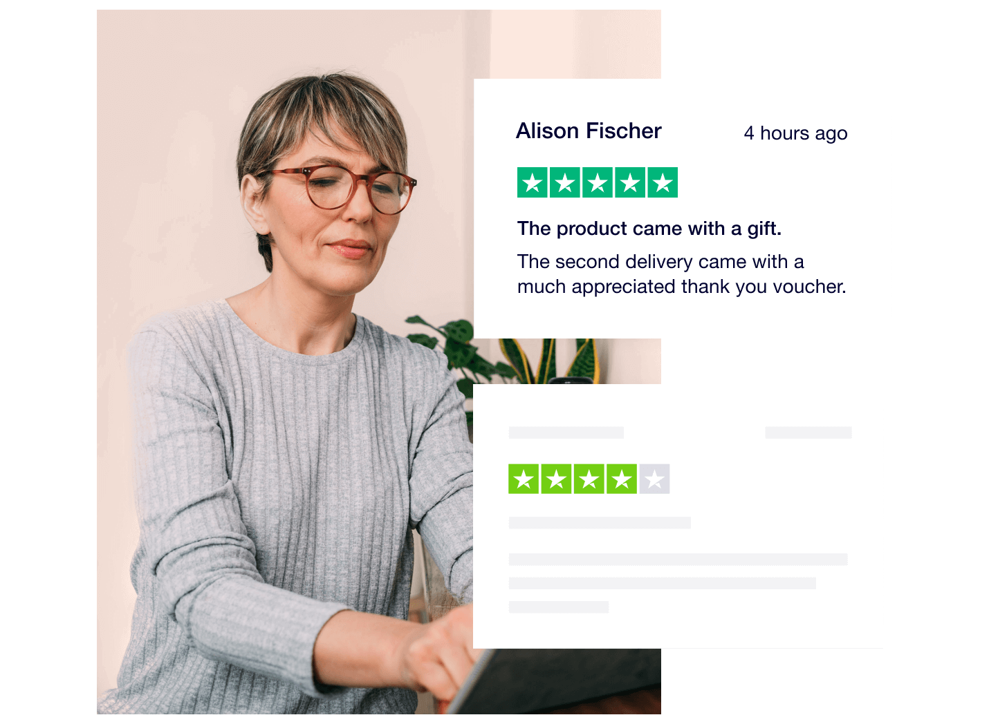 Photo of a woman with glasses in a grey sweater typing on a laptop. Trustpilot reviews in foreground.