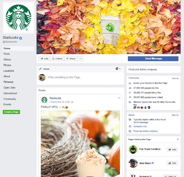 Screenshot der Facebook-Seite von Starbucks