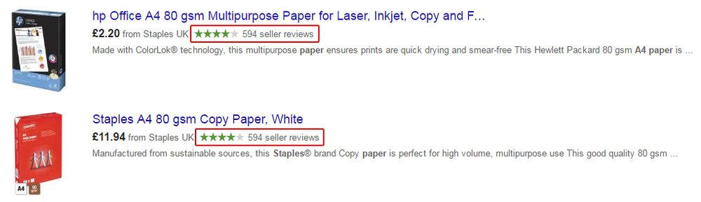 Bewertungssterne von Staples bei Google Shopping