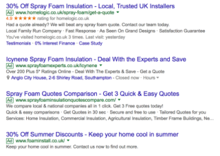 Example of Home Logic Google Seller Rating