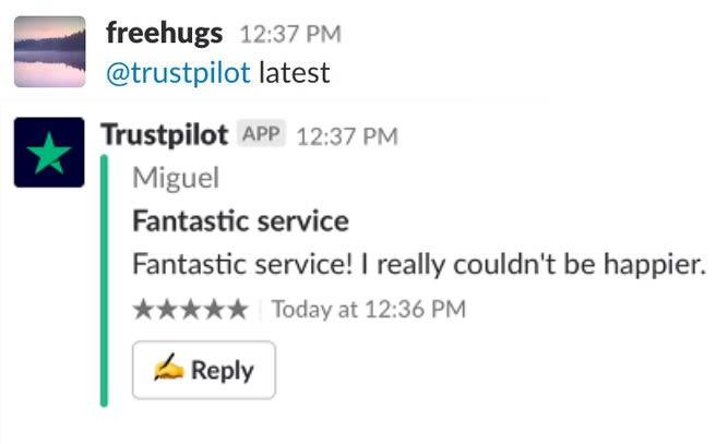 Screenshot mit Antwort des Bots auf Frage nach neuester Bewertung