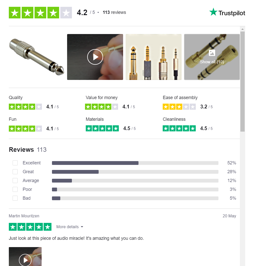 Product reviews with video