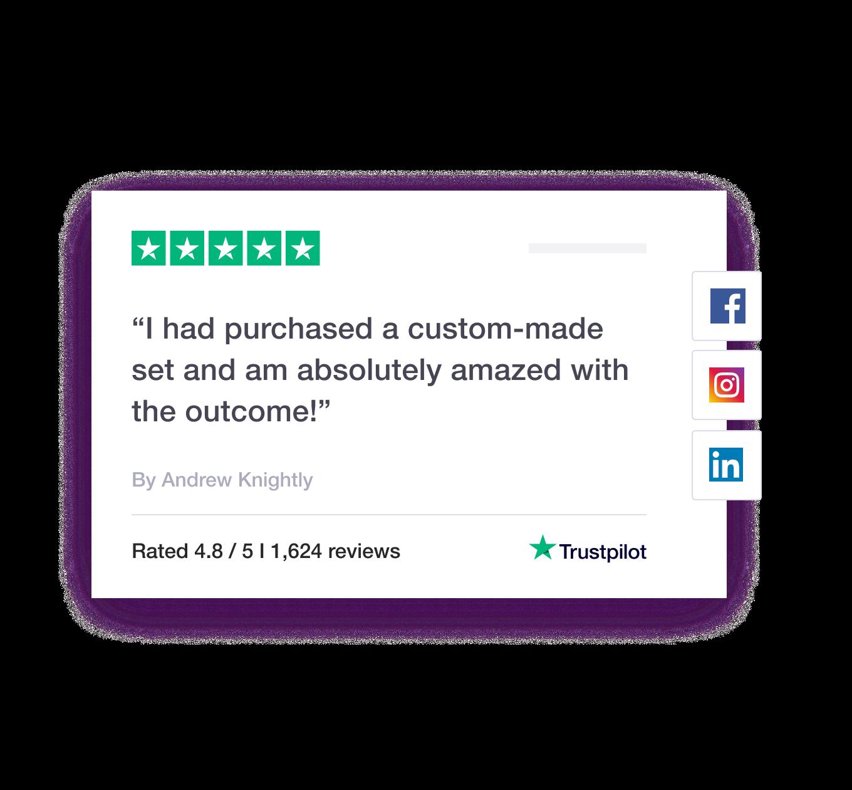 Trustpilot review feature on social media