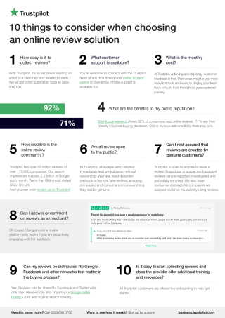 10 things to consider when choosing online reviews platform