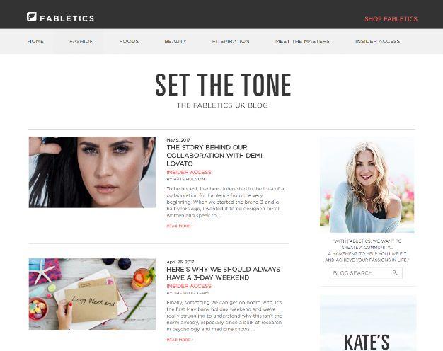 Fabletics, marketing dei contenuti, SEO