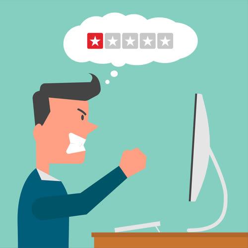 Bild negative Bewertung auf Trustpilot