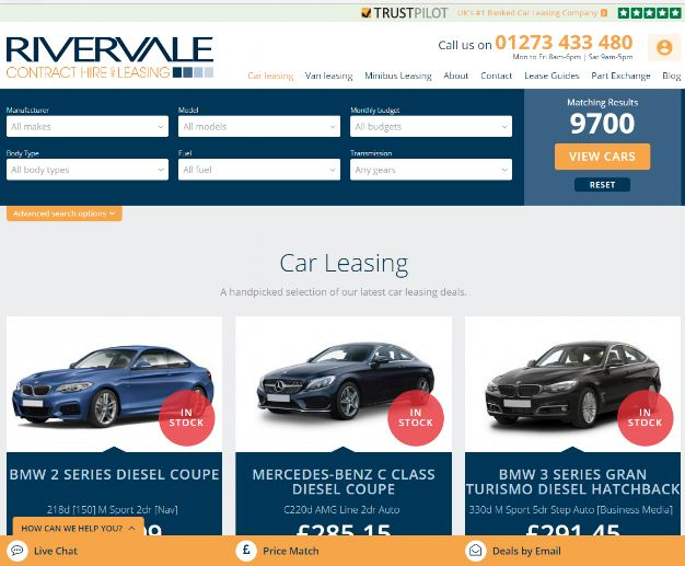 Rivervale - Car Search Page Trustpilot Integration