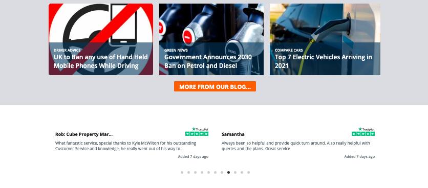 Rivervale - Car Search Page Trustpilot Integration