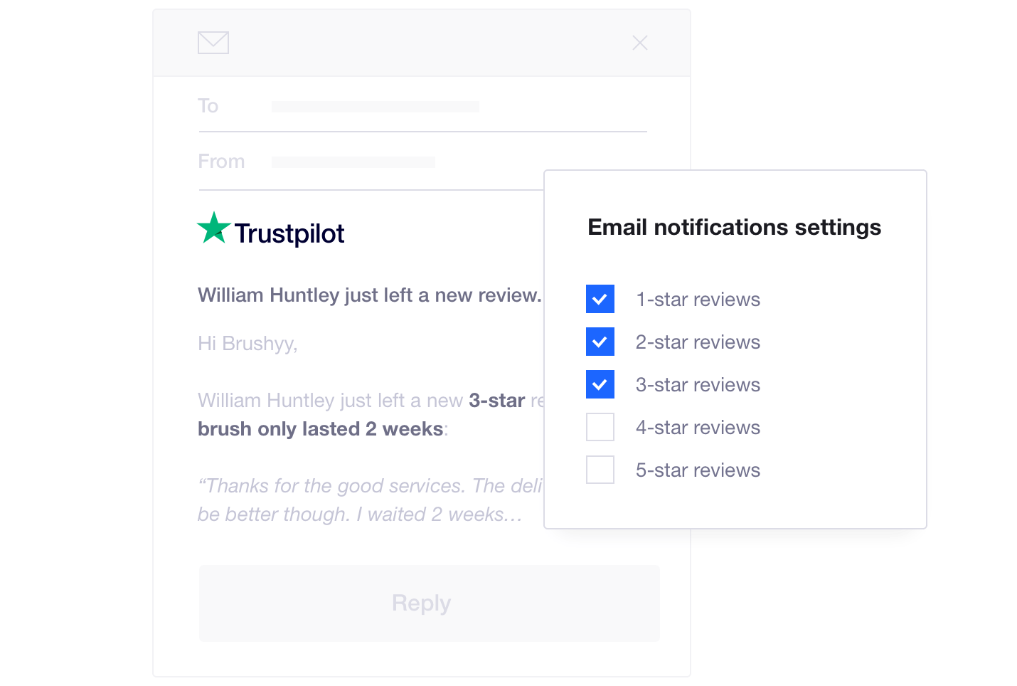 Product illustration of Trustpilot's review notification settings allowing companies to respond to particular consumer reviews instantly
