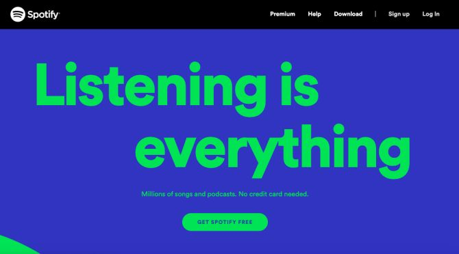 Spotify has a clear CTA and a simple, easy-to-navigate website design