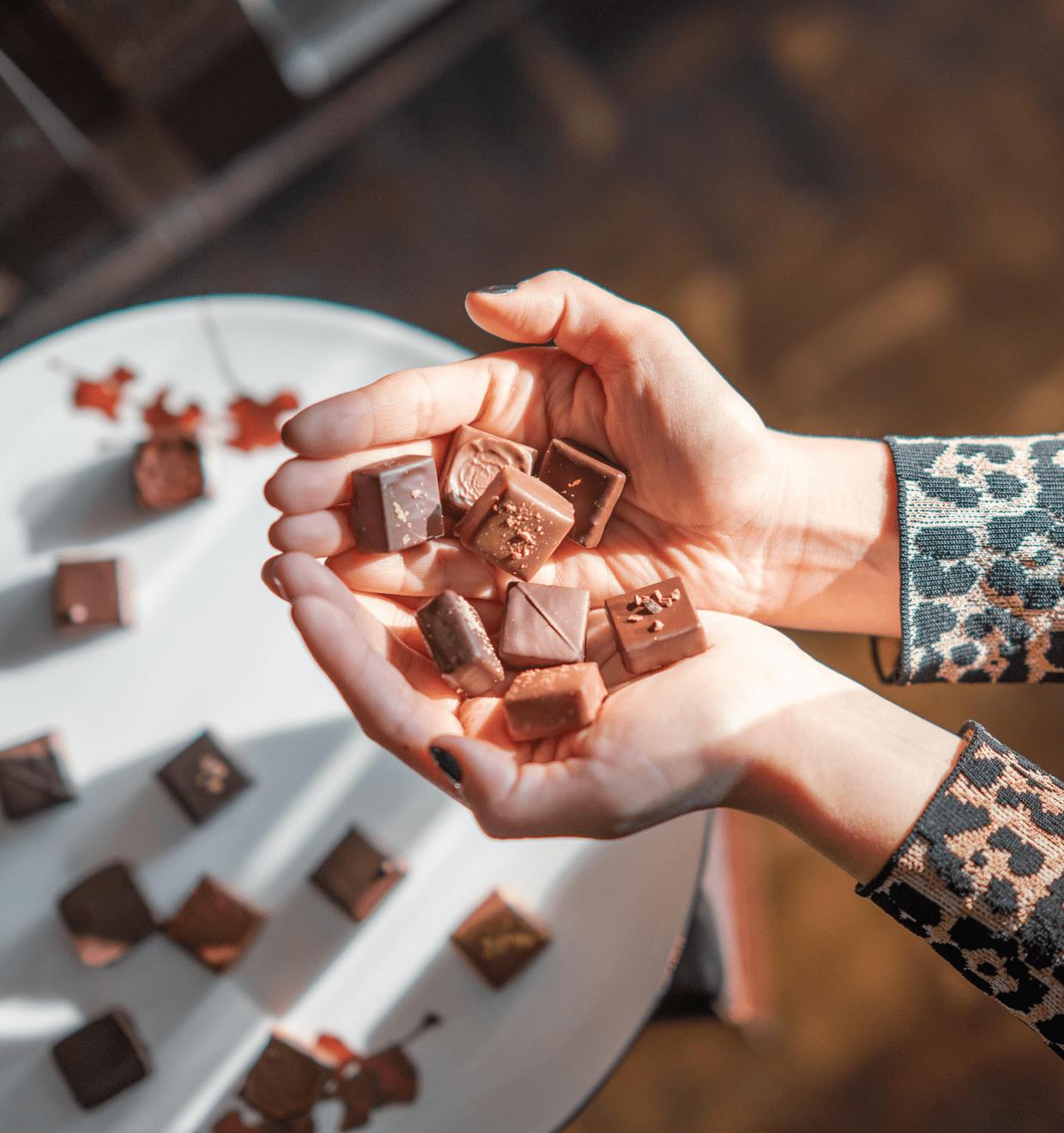 zChocolat promo photo of hands holding chocolate