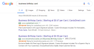 CardsDirect got Google Seller Ratings with Trustpilot