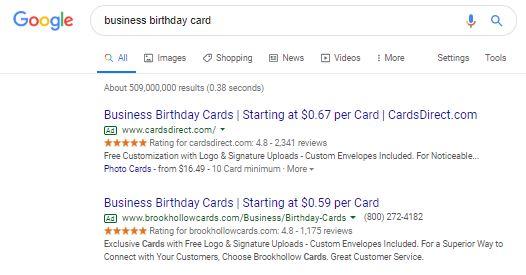 CardsDirect got Google Seller Ratings with Trustpilot