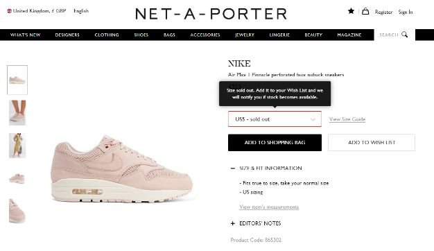 Net-a-porter Sold Out screenshot