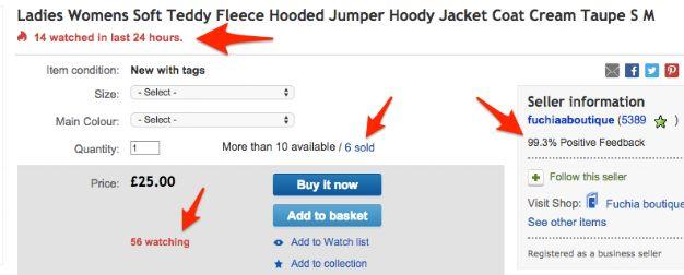 eBay-Seite mit Social-Proof-Elementen