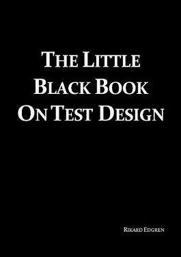 cover image with the text, Little Black Book On Test Design, on a black background