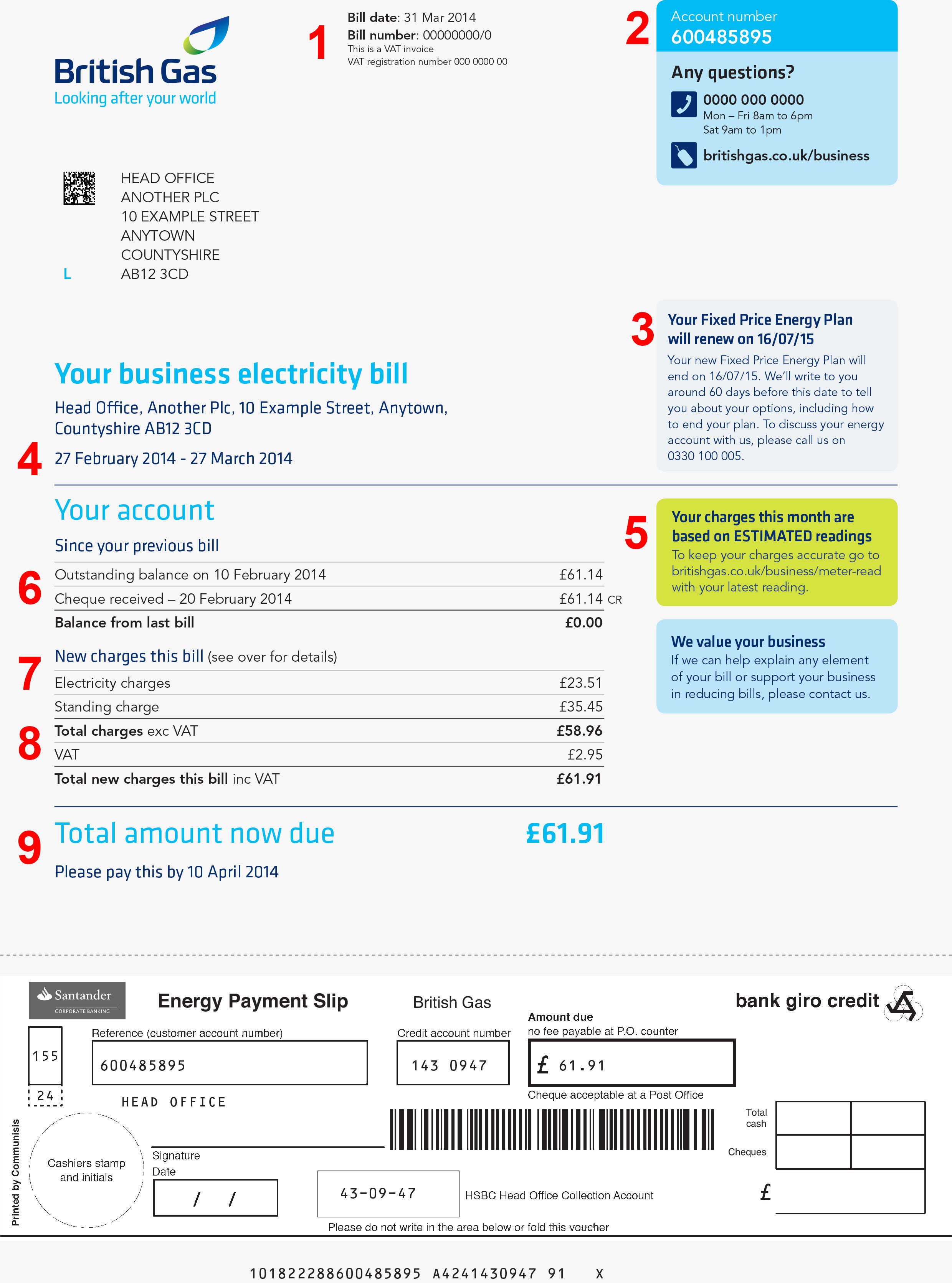 British Gas Business Energy Bill Page 2