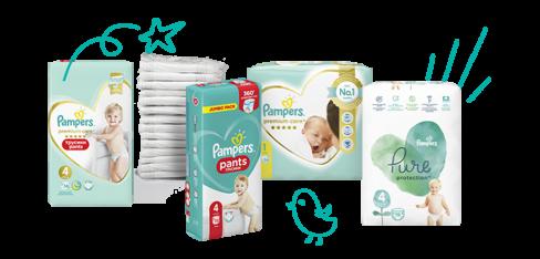 Підгузники та вологі серветки Pampers для новонарождених