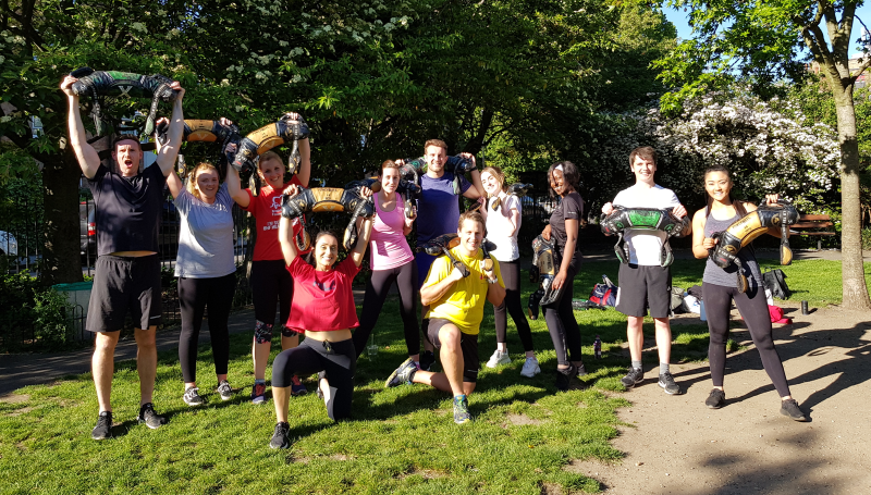 boxing class in the park