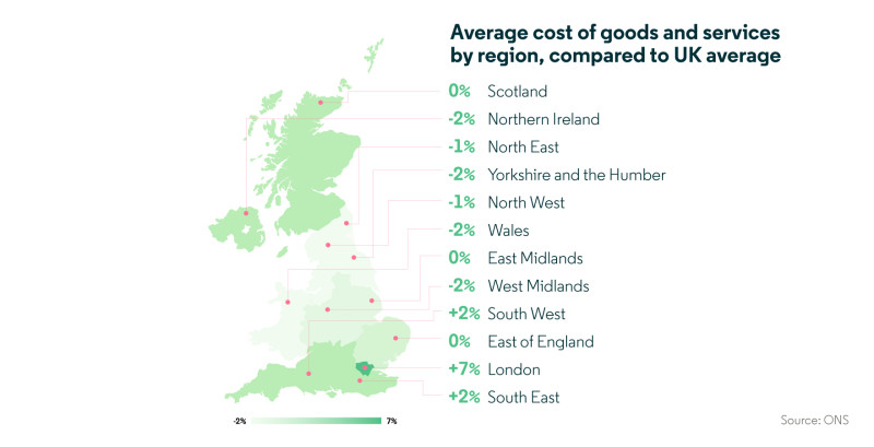 Map of average cost of goods and services by region compared to UK average