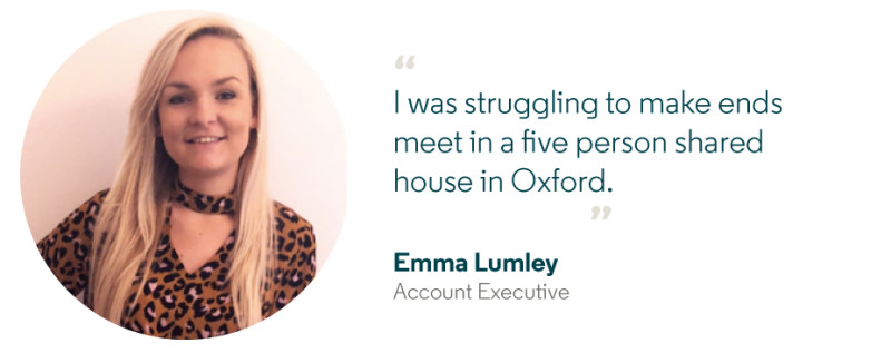 Emma says she struggled to make ends meet in a five person shared house in Oxford