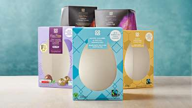 Easter eggs packaged without plastic