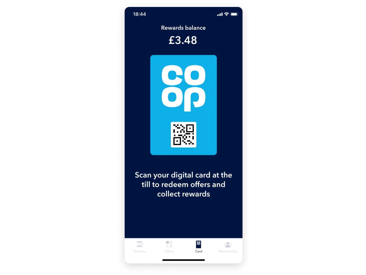 screenshot of the digital co-op membership card in the co-op app