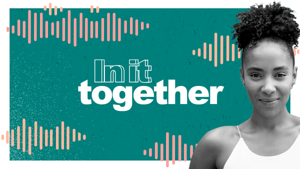 In it together logo and Yasmin Evans hero