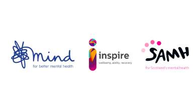 Mind, SAMH and Inspire logo set
