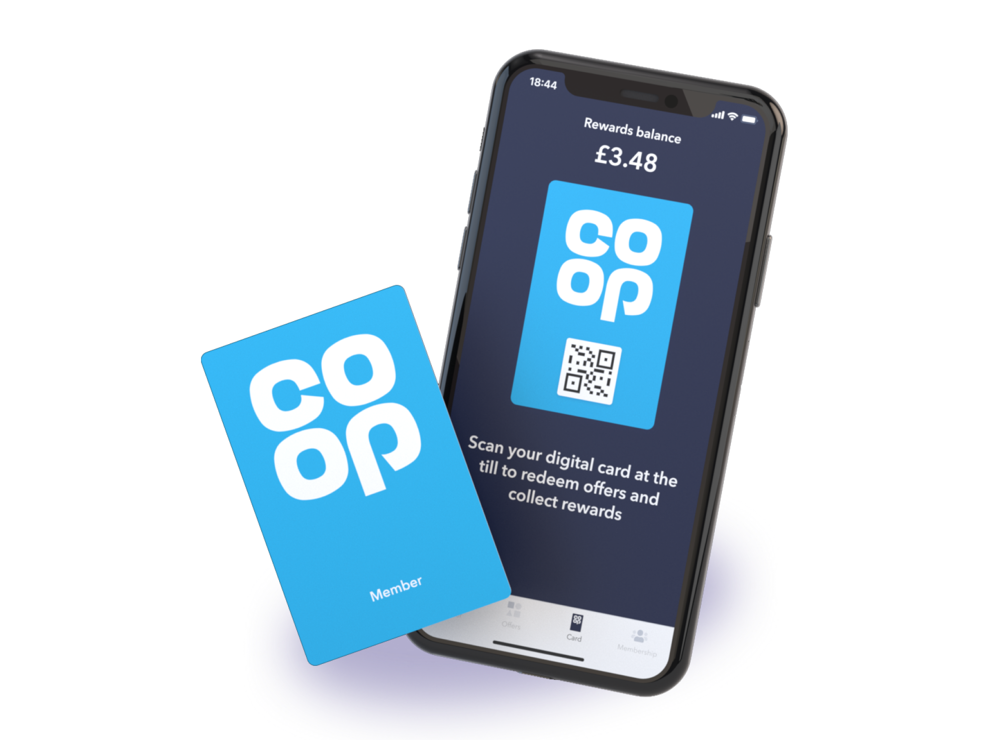 screenshot of the co-op digital membership card in the app