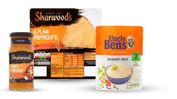 Create an Indian feast with 2 items for £2.50