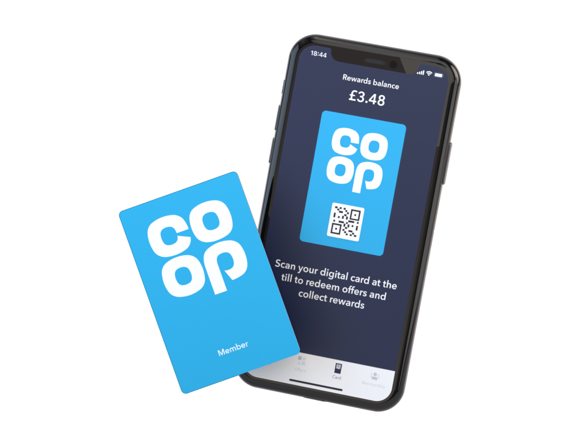 phone handset showing the co-op digital membership card in the co-op app