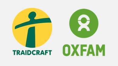 Fairtrade certified products Traidcraft and Oxfam.