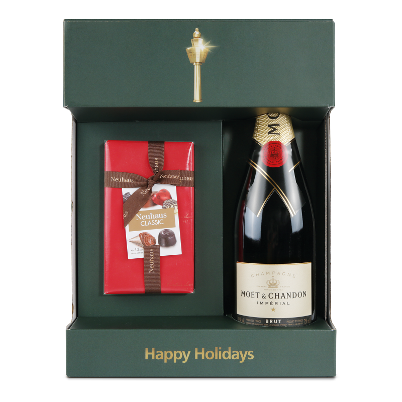 ... Brut with a Godiva Ballotin Gold, and Moët&Chandon Brut Imperial with a Neuhaus Ballotin Dark. The gift sets are pre wrapped and ready to be given!