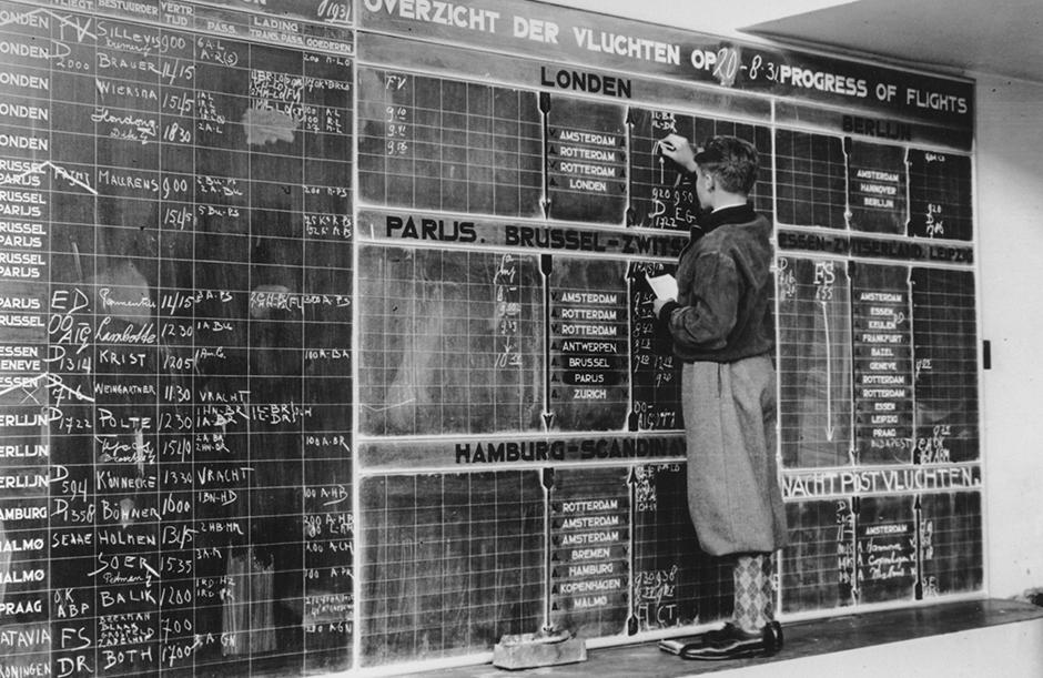 Het vertrekbord in 1931