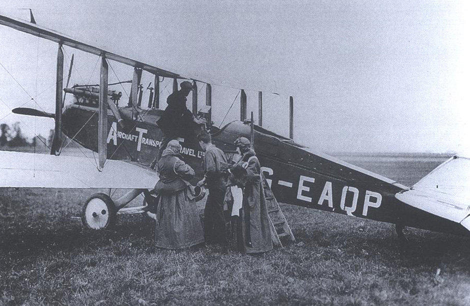 The first scheduled flight