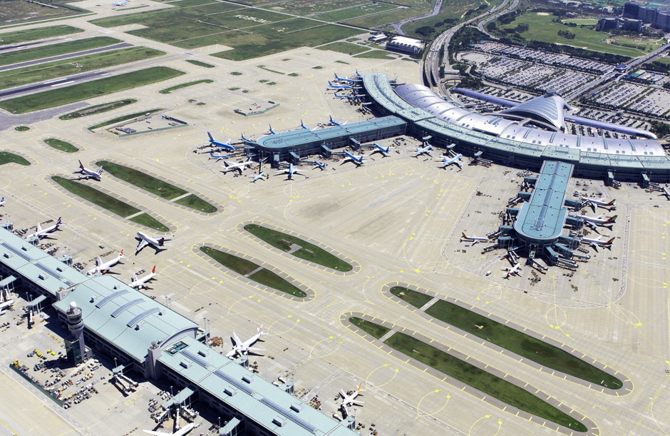 Birds-eye-view-Seoul airport Incheon South Korea