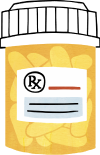 Illustration of yellow, filled pill bottle