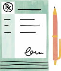 Illustration of pen and paper with signature